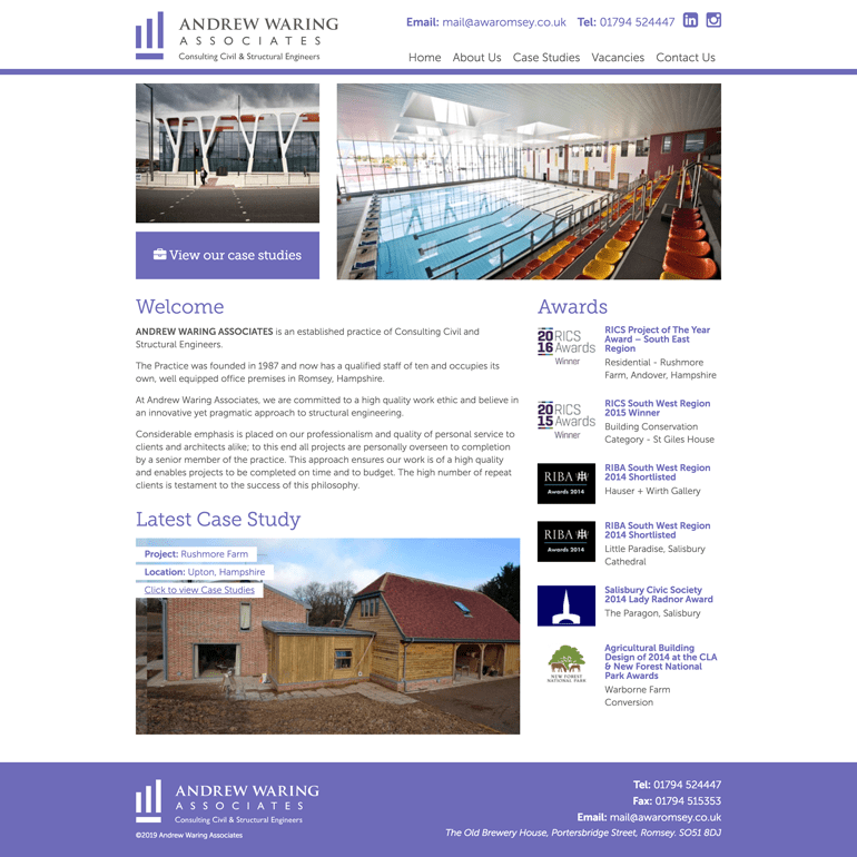 Screenshot of the Andrew Waring Associates Website