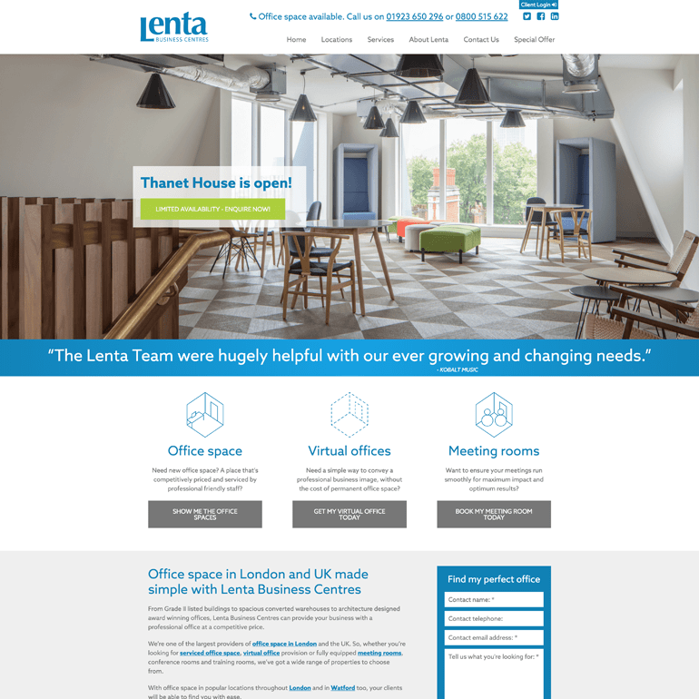 Screenshot of the Lenta Website