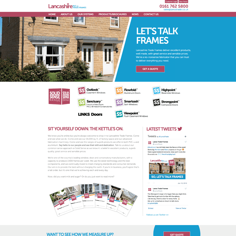 Screenshot of the Lancashire PVCU Trade Frames Website